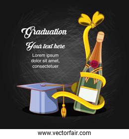 graduation card with hat and wine