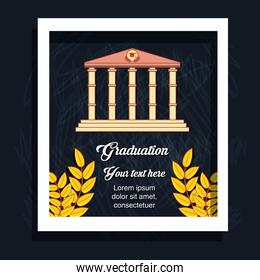 graduation card with classic building