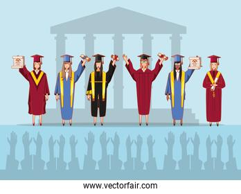 group of students graduated characters
