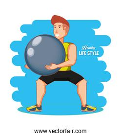 man athlete practicing exercise with ball