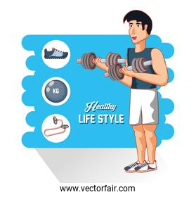 young athlete training sport with healthy lifestyle icons