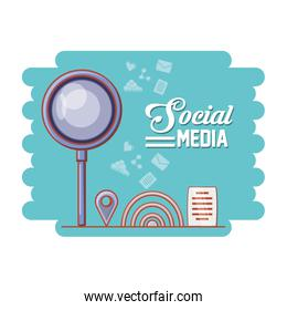 magnifying glass with social media icons
