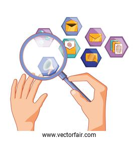 hands with magnifying glass and social media set icons