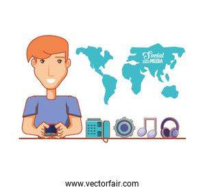 young businessman with social media icons