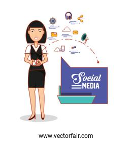 businesswoman with social media icons