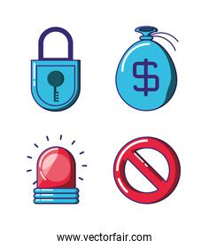 financial technology security icons