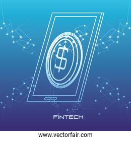 smartphone with money fintech concept
