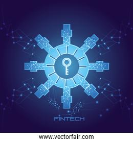 password key with fintech icon