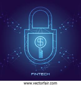 padlock with money financial technology