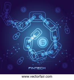 chain with money financial technology icon