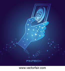 hand using phone with money fintech concept