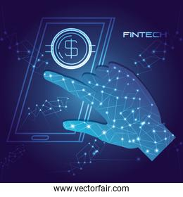 hand using smartphone with money fintech concept