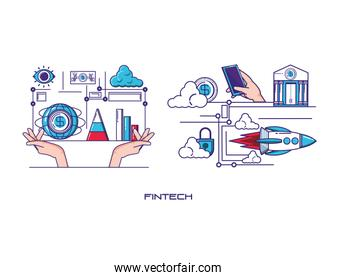 financial technology set icons
