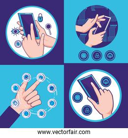 hands human with fintech icons