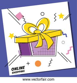 gift present with shopping online concept