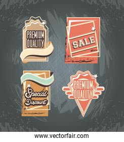 commercial labels retro style