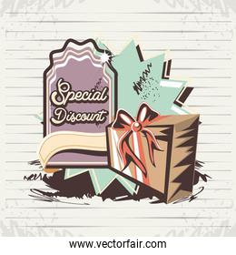 special discount label with gift retro style
