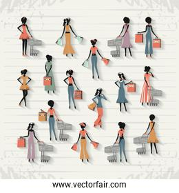 group of women in shopping day style retro
