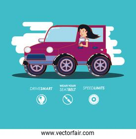 person driving for driver safely campaign set icons