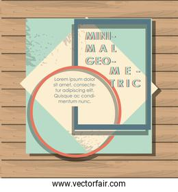 minimal geometric template with wooden background