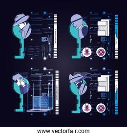 data security technology set icons
