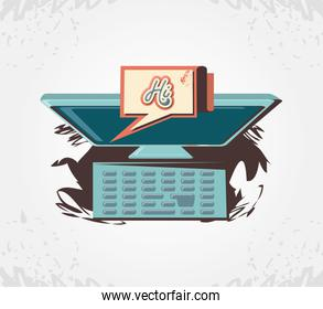 social media marketing with computer icon vector ilustration