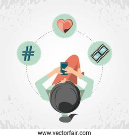 woman with smartphone social media icons icon vector ilustration