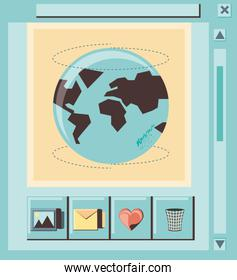 social media marketing with world planet icon vector ilustration