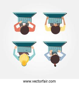 people with laptop social media icons icon vector ilustration