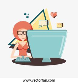woman with desktop social media icons icon vector ilustration