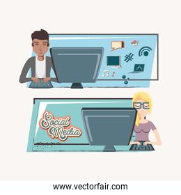 couple with desktop social media icons icon vector ilustration