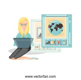 woman with laptop social media icons icon vector ilustration
