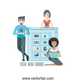 community people with social media icons icon vector ilustration