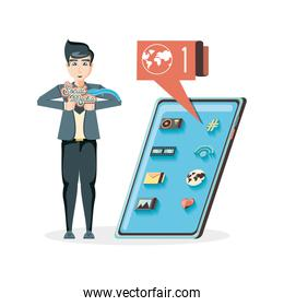 man with smartphone social media icons icon vector ilustration