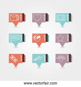 speech bubbles with social media icons icon vector ilustration