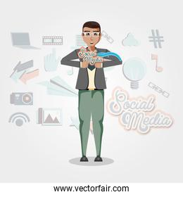 man with social media icons icon vector ilustration
