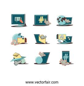 electronic devices with social media icons icon vector ilustration