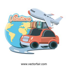 travel vacations set icons