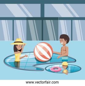 family vacations in pool icon vectorilustration water