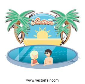vacations couple in the pool icon vectorilustration
