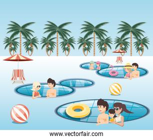 group of people in the pool icon vector