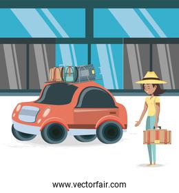 woman in hotel building vacations days travel vector ilustration