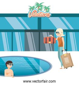 vacations couple in the pool travel vector ilustration