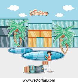 woman in the pool scene travel vector ilustration