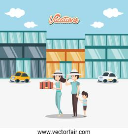 family in hotel building vacations days travel vector ilustration