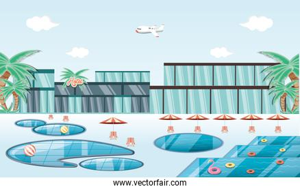 vacations place with pool scene travel vector ilustration