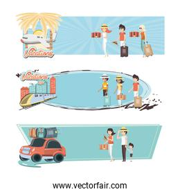 family vacations set icons travel vector ilustration