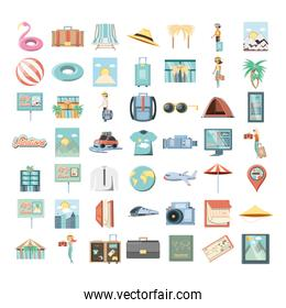 holidays vacations set icons travel vector ilustration