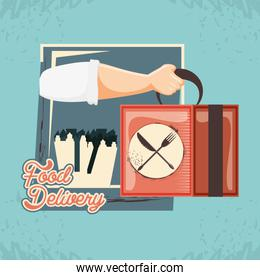 hand with box food delivery service icon vector ilustration