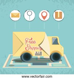 free shipping service with truck icon vector ilustration